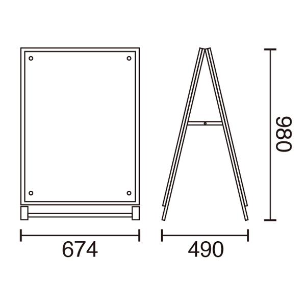 アクリルパネルスタンドAPS A1両面サイズ