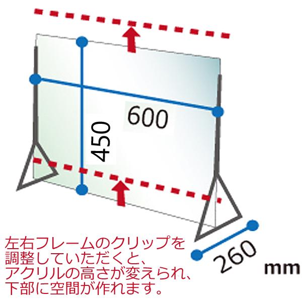 飛沫防止アクリルディフェンスパネル600x450サイズ