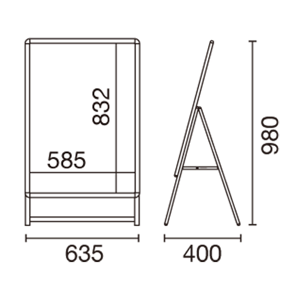 A型看板スリムグリップA A1サイズ片面 図