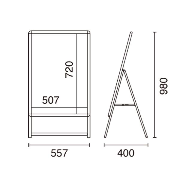 A型看板スリムグリップA B2サイズ片面 図