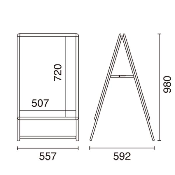 A型看板スリムグリップA B2サイズ両面 図