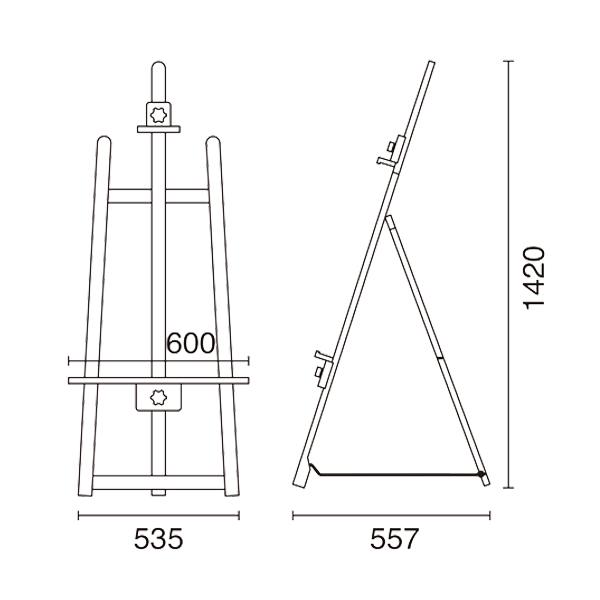木製 イーゼル フロント T-140 図