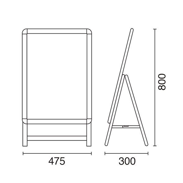 A型看板 A2サイズ 屋内屋外可 片面 グリップA 図
